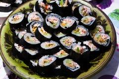 Veel naar huis gemaakte sushi stock foto's