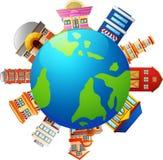 Veel soort winkels ter wereld royalty-vrije illustratie