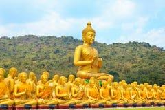 Veel standbeeld van Boedha onder blauwe hemel in tempel stock foto