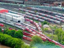 Veel treinen Royalty-vrije Stock Afbeeldingen