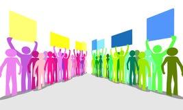 Veel van het overzicht het kleurrijke woedende mensen protesteren Stock Afbeeldingen