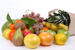 Veel vers fruit in de zak Stock Foto's