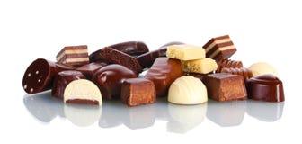 Veel verschillend chocoladesuikergoed royalty-vrije stock afbeelding