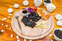 Veel voedsel op lijst Stock Foto