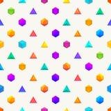 Veelhoek 3d objecten Naadloos geometrisch patroon Stock Fotografie