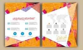 Veelhoek Jaarverslag, de Lay-out van de Boekdekking, Pamfletbrochure, Vliegermalplaatje, A4 Grootte Stock Fotografie