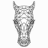 Veelhoek zwart-witte tekening van een paard` s hoofd vector illustratie