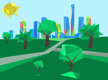 Veelhoekig cityscape park royalty-vrije illustratie