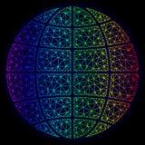 Veelhoekig 2D Spectrum Mesh Vector Globe stock illustratie