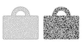 Veelhoekig Draadkader Mesh Baggage en Mozaïekpictogram stock illustratie
