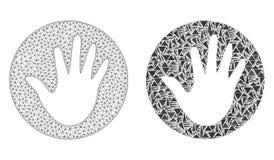 Veelhoekig Draadkader Mesh Hand Circle en Mozaïekpictogram royalty-vrije illustratie