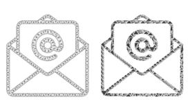 Veelhoekig Draadkader Mesh Open E-mail en Mozaïekpictogram vector illustratie