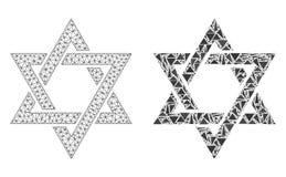 Veelhoekig Karkas Mesh David Star en Mozaïekpictogram royalty-vrije illustratie