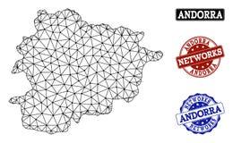 Veelhoekig Karkas Mesh Vector Map van de Zegels van Grunge van Andorra en van het Netwerk vector illustratie