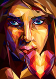 Veelhoekig meisje met een hart - Illustratie Stock Afbeeldingen