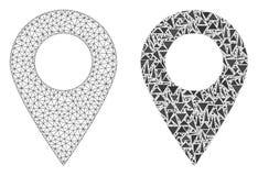 Veelhoekig Netwerk Mesh Map Marker en Mozaïekpictogram royalty-vrije illustratie
