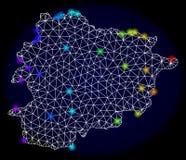 Veelhoekig Netwerk Mesh Map van Andorra met Kleurrijke Spectrum Lichte Vlekken royalty-vrije illustratie