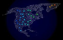 Veelhoekig Netwerk Mesh Map van Noord-Amerika en Groenland met Kleurrijke Lichte Vlekken stock illustratie