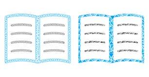 Veelhoekig Netwerk Mesh Open Book en Mozaïekpictogram royalty-vrije illustratie