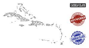 Veelhoekig Netwerk Mesh Vector Map van de Caraïbische Eilanden en Zegels van Netwerkgrunge stock illustratie