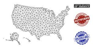 Veelhoekig Netwerk Mesh Vector Map van de Gebieden van de V.S. en de Zegels van Netwerkgrunge royalty-vrije illustratie