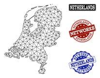 Veelhoekig Netwerk Mesh Vector Map van de Zegels van Grunge van Nederland en van het Netwerk stock illustratie