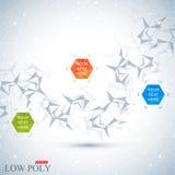 Veelhoekige abstracte achtergrond Lage poly, molecule en communicatie met verbonden punten, lijnen Vector illustratie Stock Afbeeldingen