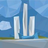 Veelhoekige cityscape Stock Afbeeldingen
