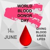 Veelhoekige de bloedgeverdag van de prentbriefkaarwereld Stock Afbeelding