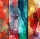 Veelhoekige die achtergronden met abstract multicolored mozaïek worden geplaatst Vector stock illustratie