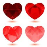 Veelhoekige harten Royalty-vrije Stock Afbeeldingen
