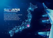 Veelhoekige kaart van Japan Drijvende blauwe vlecht geometrische achtergrond Creatieve abstracte vector Mededelingen en reis royalty-vrije illustratie