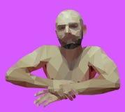 Veelhoekige Ontspannende Mens Vector geometrische illustratie Stock Fotografie