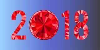 Veelhoekige rode nummer 2018 geïsoleerd op blauwe achtergrond Stock Afbeelding