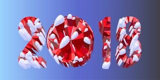 Veelhoekige volumetrische kalendernummer 2018 geïsoleerd op blauwe achtergrond Kerstmis, Gelukkige Nieuwjaar futuristische 3D ill Stock Afbeeldingen
