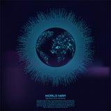 Veelhoekige wereldkaart Punt en lijnsamenstelling Het globale continent van de netwerkverbinding en planeet, vectorillustratie vector illustratie