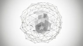 Veelhoekige witte netwerkvorm 3d geef terug Royalty-vrije Stock Fotografie
