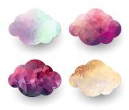 Veelhoekige wolkenpictogrammen Stock Afbeeldingen