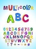 Veelkleurig ABC Heldere multicolored gemengde letters en getallen Royalty-vrije Stock Foto's