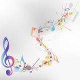 Veelkleurig muzieknootpersoneel Stock Fotografie