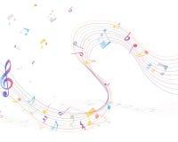 Veelkleurig muzieknootpersoneel Stock Foto's