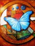 Veelkleurig vlinderolieverfschilderij stock foto