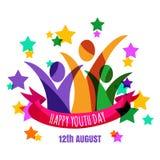 Veelkleurige abstracte jonge gelukkige mensen met lint en sterrenbac Stock Fotografie