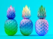 Veelkleurige ananassen bij het blauwe 3D teruggeven als achtergrond Stock Foto's