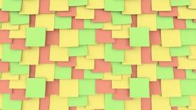 Veelkleurige document stickers op de muur Van de het bureauwerk of herinnering concepten het 3d teruggeven Stock Fotografie