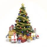 Veelkleurige geïsoleerde Kerstmisboom Stock Foto