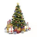Veelkleurige geïsoleerdes Kerstmisboom Stock Fotografie