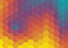 Veelkleurige geometrische zeshoekenachtergrond Stock Afbeeldingen