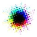 Veelkleurige halftone vlek met punten Stock Afbeelding