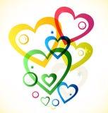 Veelkleurige harten royalty-vrije illustratie